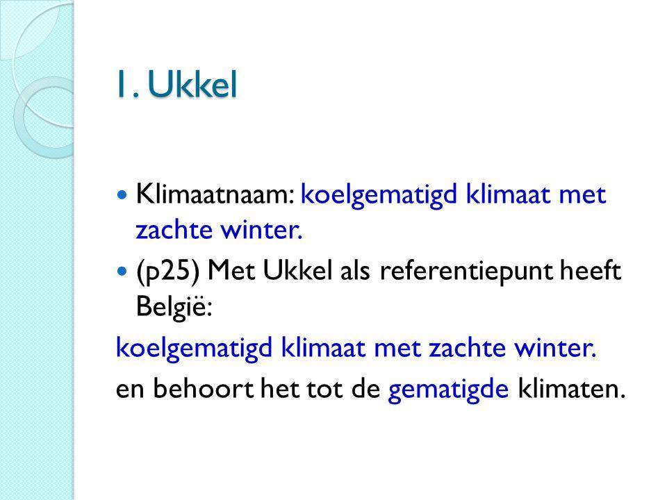 1. Ukkel Klimaatnaam: koelgematigd klimaat met zachte winter.