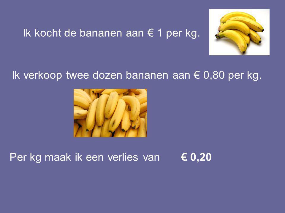 Ik kocht de bananen aan € 1 per kg.