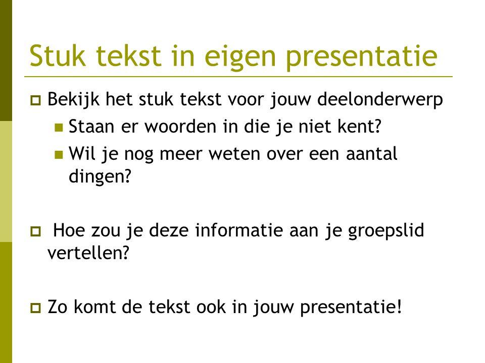 Stuk tekst in eigen presentatie