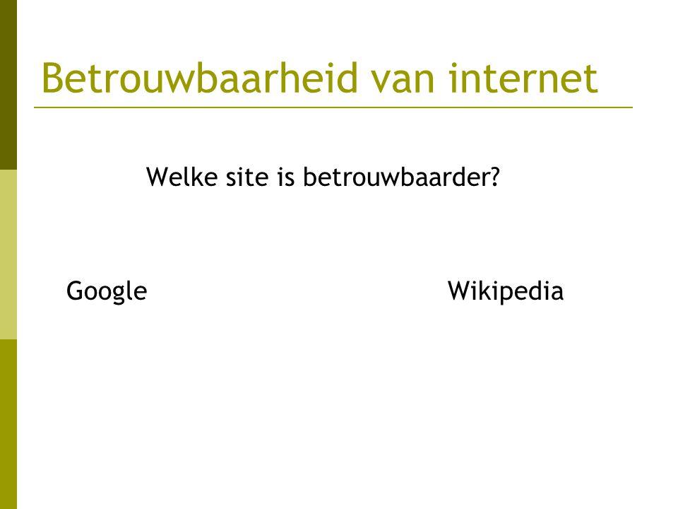 Betrouwbaarheid van internet