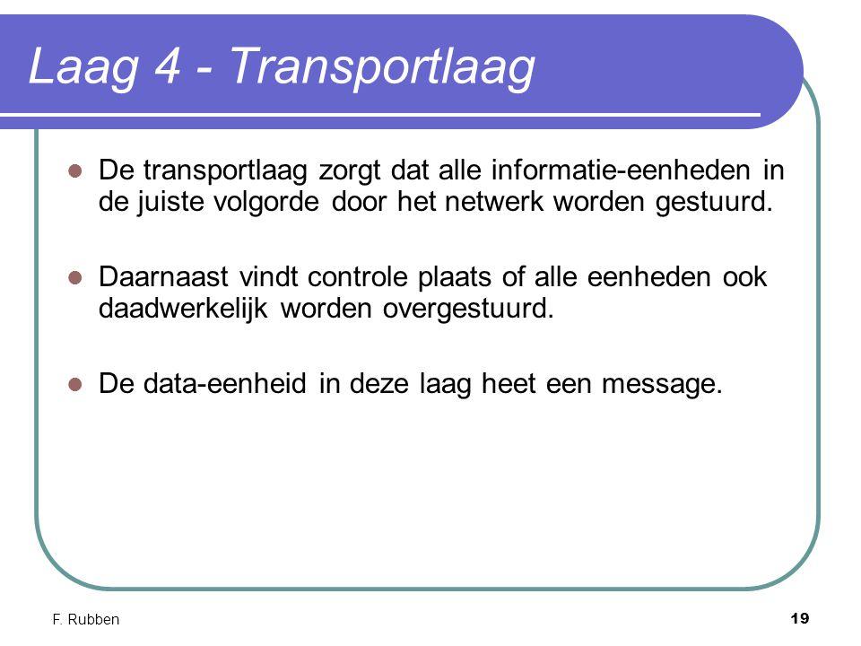 Laag 4 - Transportlaag De transportlaag zorgt dat alle informatie-eenheden in de juiste volgorde door het netwerk worden gestuurd.