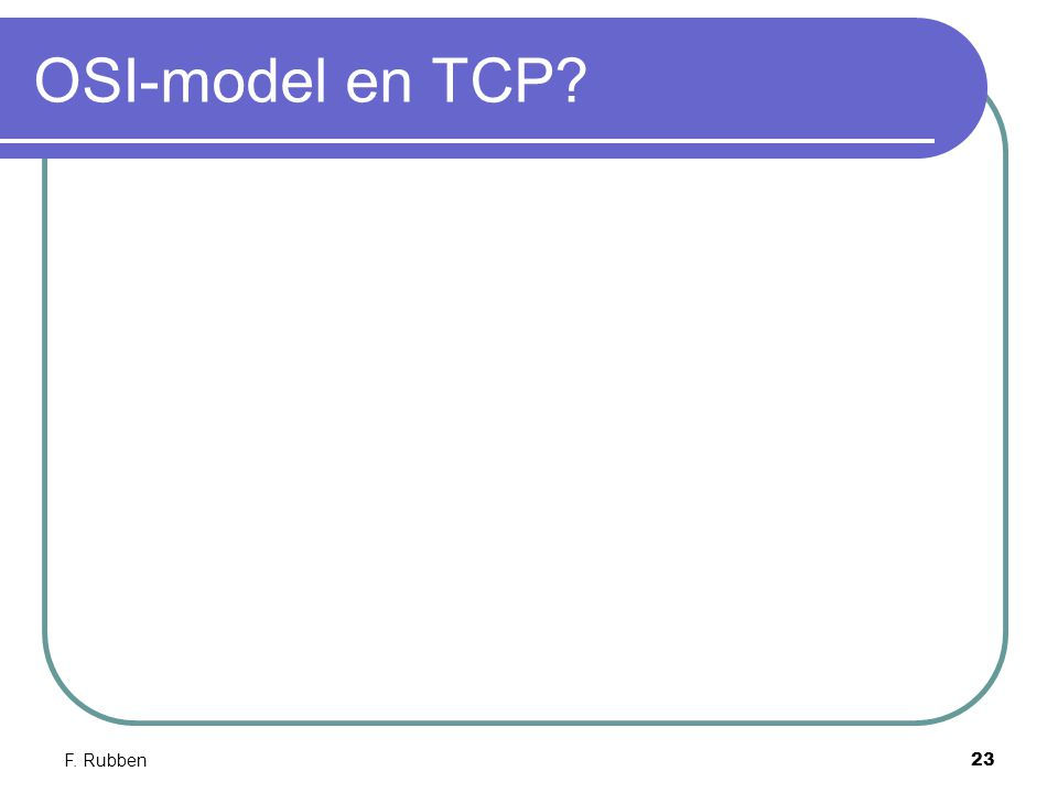 OSI-model en TCP F. Rubben