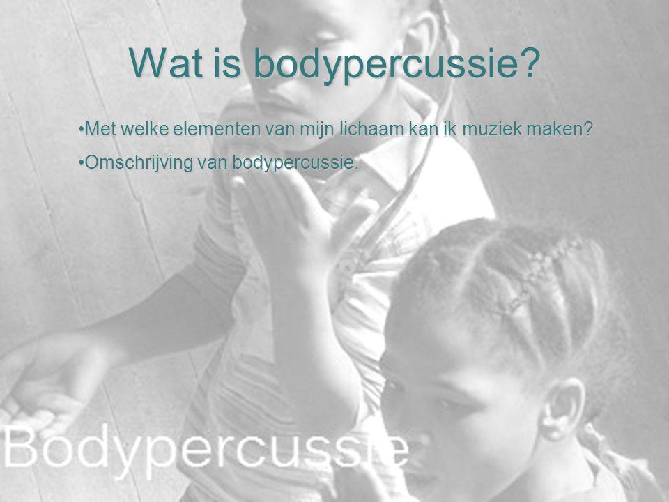 Wat is bodypercussie. Met welke elementen van mijn lichaam kan ik muziek maken.