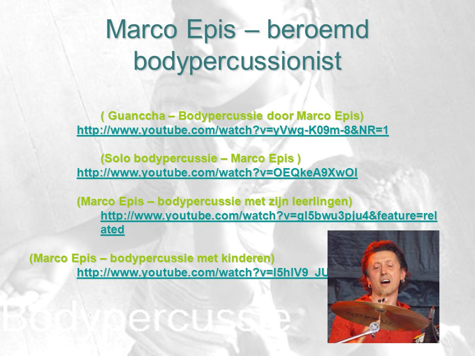 Marco Epis – beroemd bodypercussionist