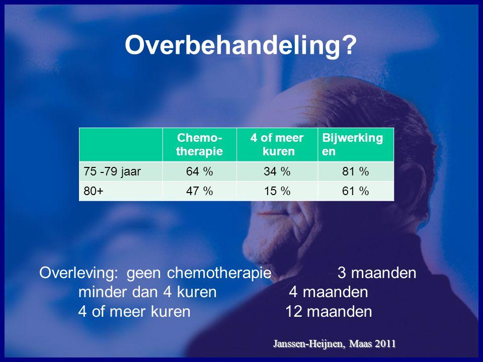 Overbehandeling Overleving: geen chemotherapie 3 maanden minder dan 4 kuren 4 maanden.