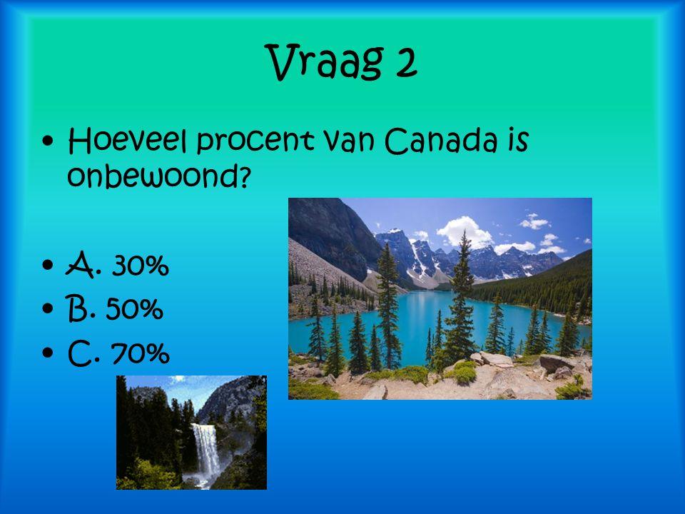 Vraag 2 Hoeveel procent van Canada is onbewoond A. 30% B. 50% C. 70%