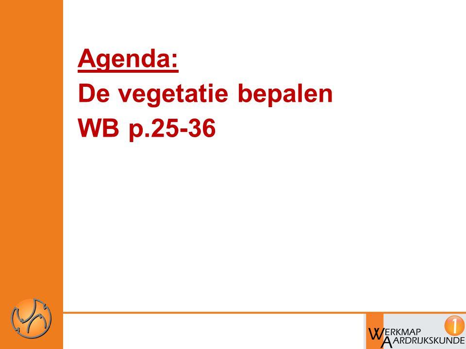 Agenda: De vegetatie bepalen WB p.25-36