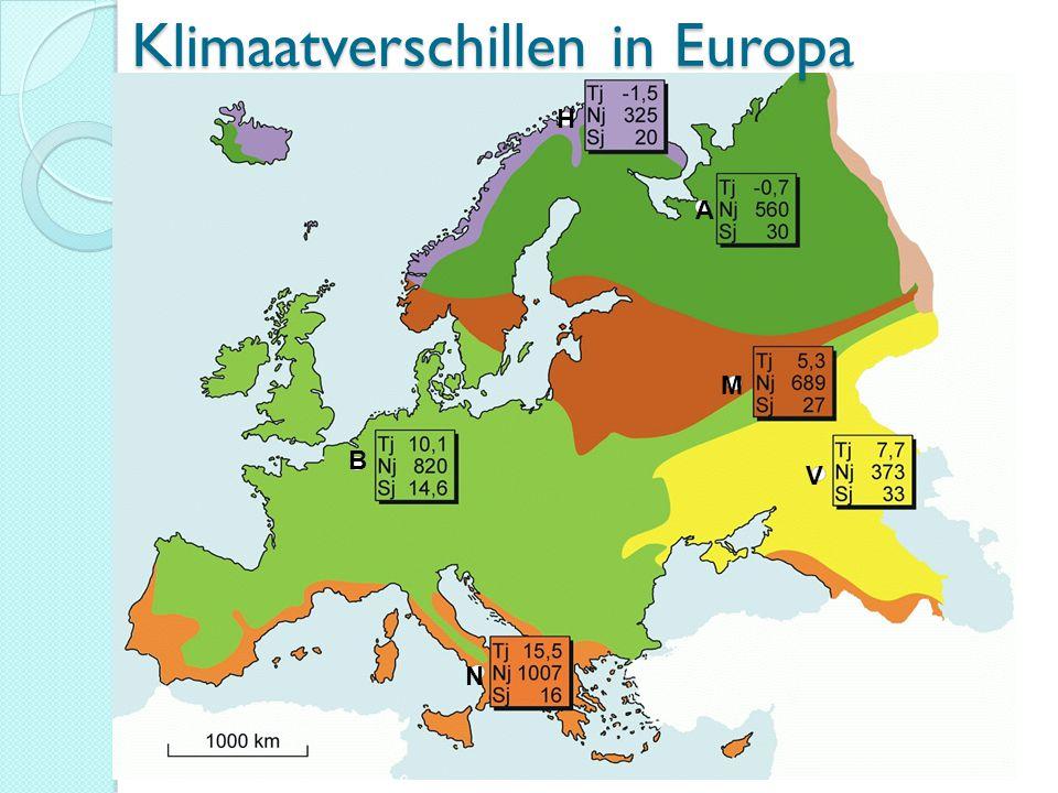 Klimaatverschillen in Europa