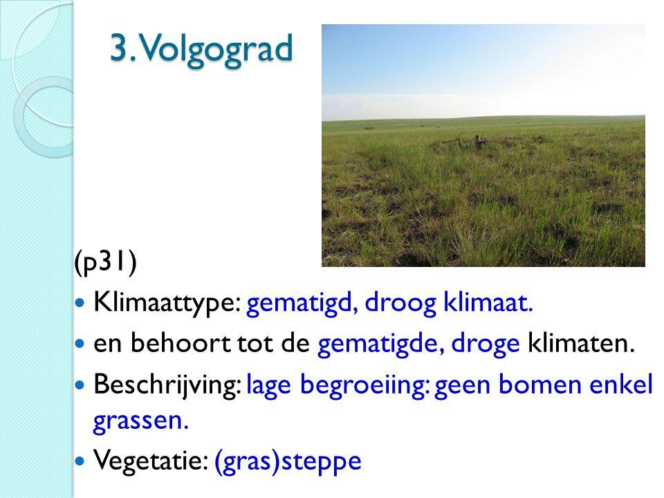 3. Volgograd (p31) Klimaattype: gematigd, droog klimaat.