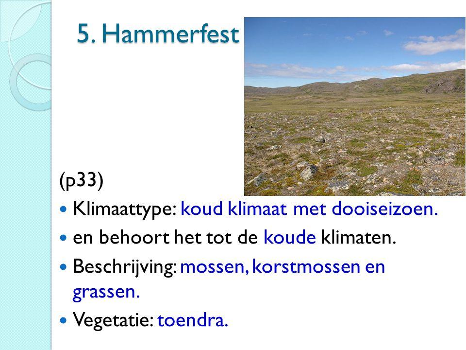 5. Hammerfest (p33) Klimaattype: koud klimaat met dooiseizoen.