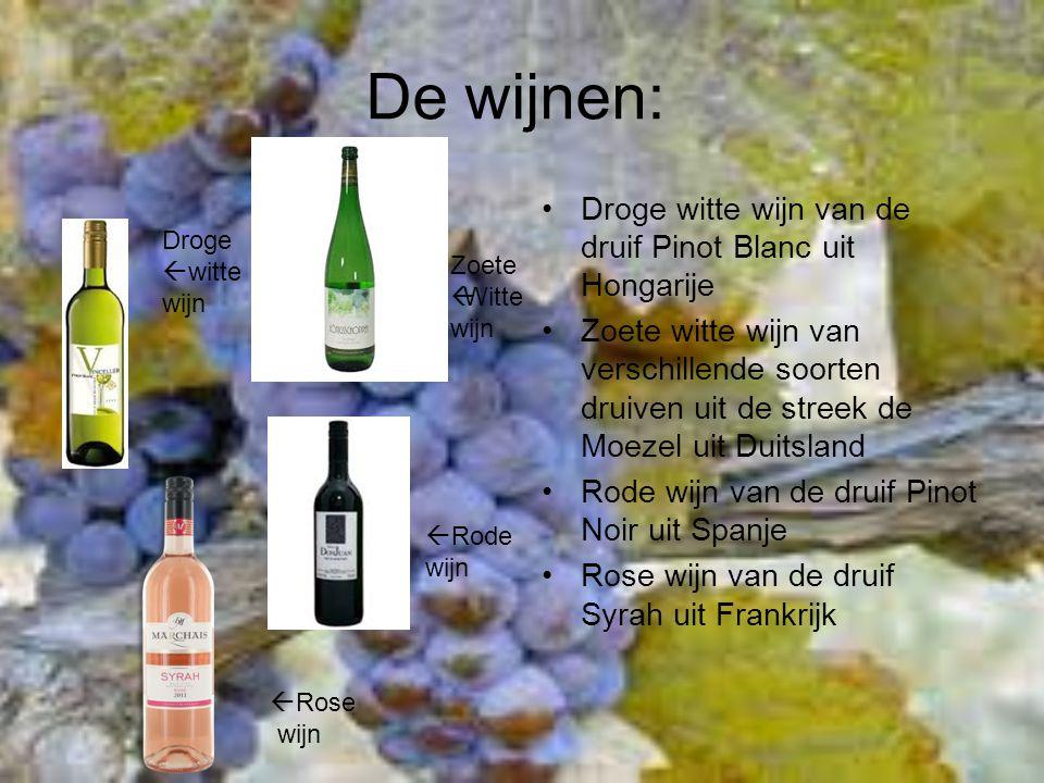 De wijnen: Droge witte wijn van de druif Pinot Blanc uit Hongarije