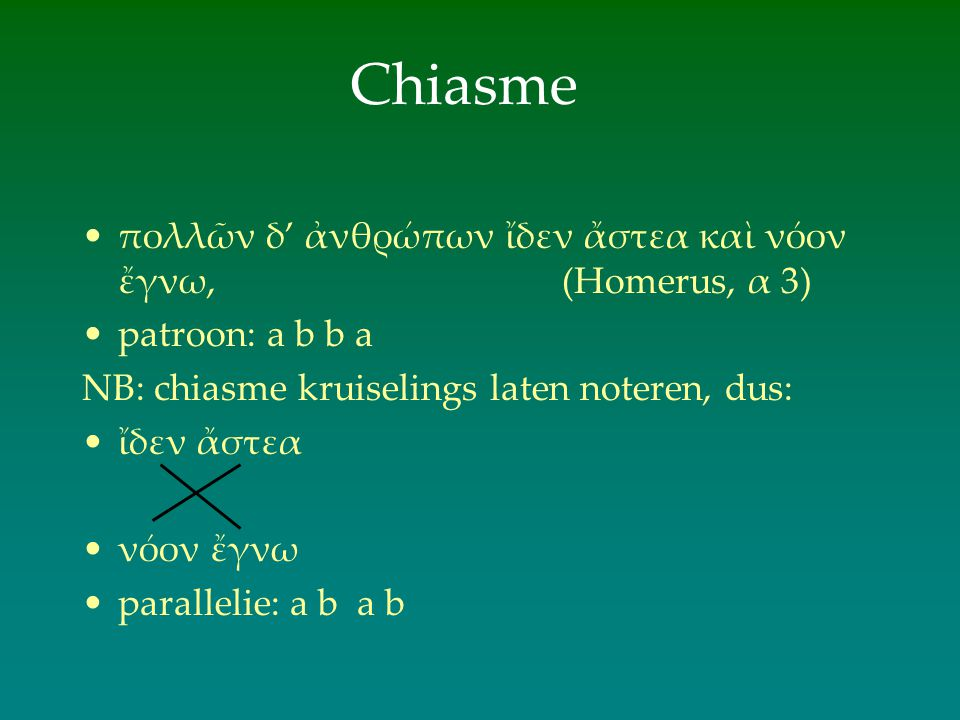Chiasme πολλῶν δ' ἀνθρώπων ἴδεν ἄστεα καὶ νόον ἔγνω, (Homerus, α 3)