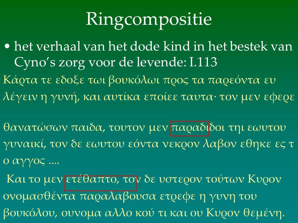 Ringcompositie het verhaal van het dode kind in het bestek van Cyno's zorg voor de levende: Ι.113. Κάρτα τε εδοξε τωι βουκόλωι προς τα παρεόντα ευ