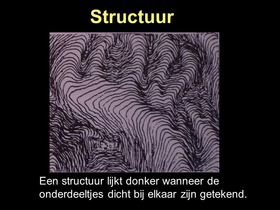 Structuur Een structuur lijkt donker wanneer de onderdeeltjes dicht bij elkaar zijn getekend.