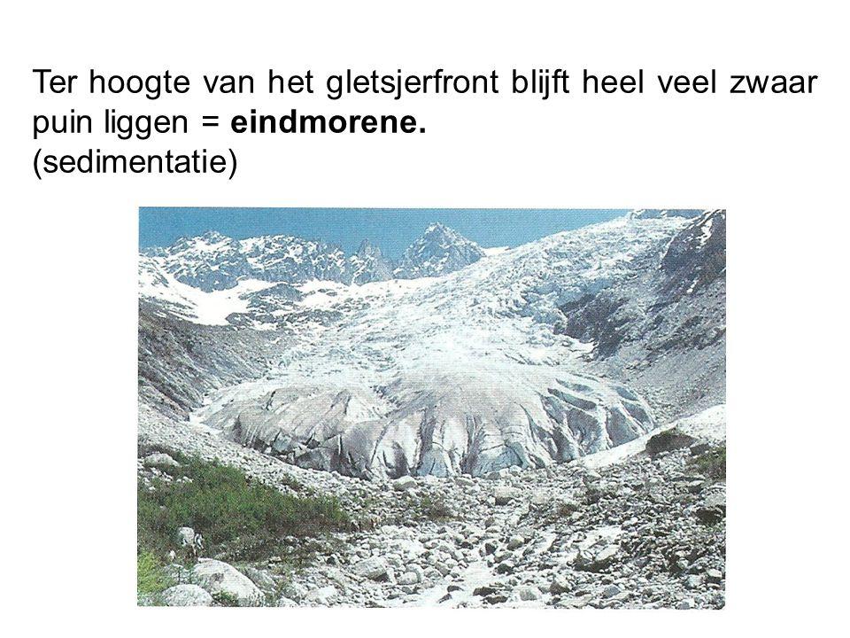 Ter hoogte van het gletsjerfront blijft heel veel zwaar puin liggen = eindmorene.