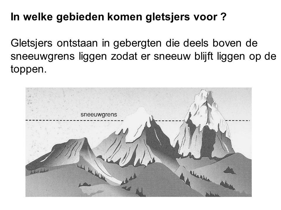 In welke gebieden komen gletsjers voor