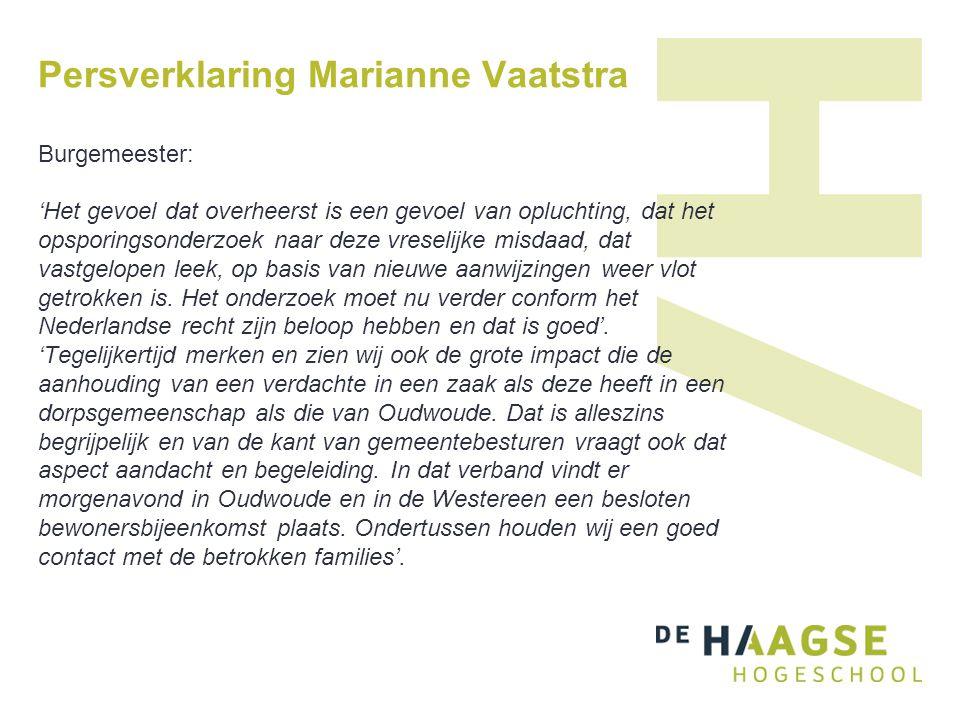 Persverklaring Marianne Vaatstra