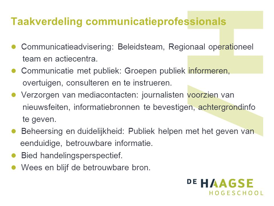Taakverdeling communicatieprofessionals