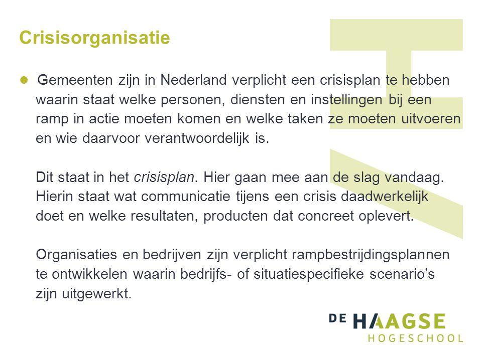 Crisisorganisatie Gemeenten zijn in Nederland verplicht een crisisplan te hebben. waarin staat welke personen, diensten en instellingen bij een.