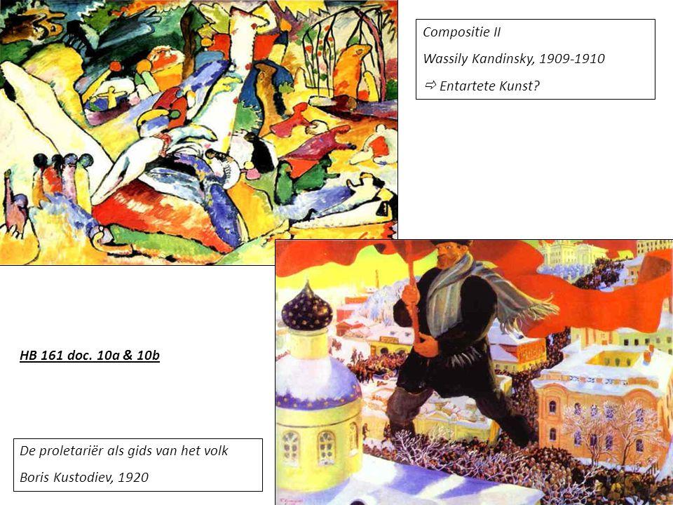 Compositie II Wassily Kandinsky, 1909-1910.  Entartete Kunst HB 161 doc. 10a & 10b. De proletariër als gids van het volk.