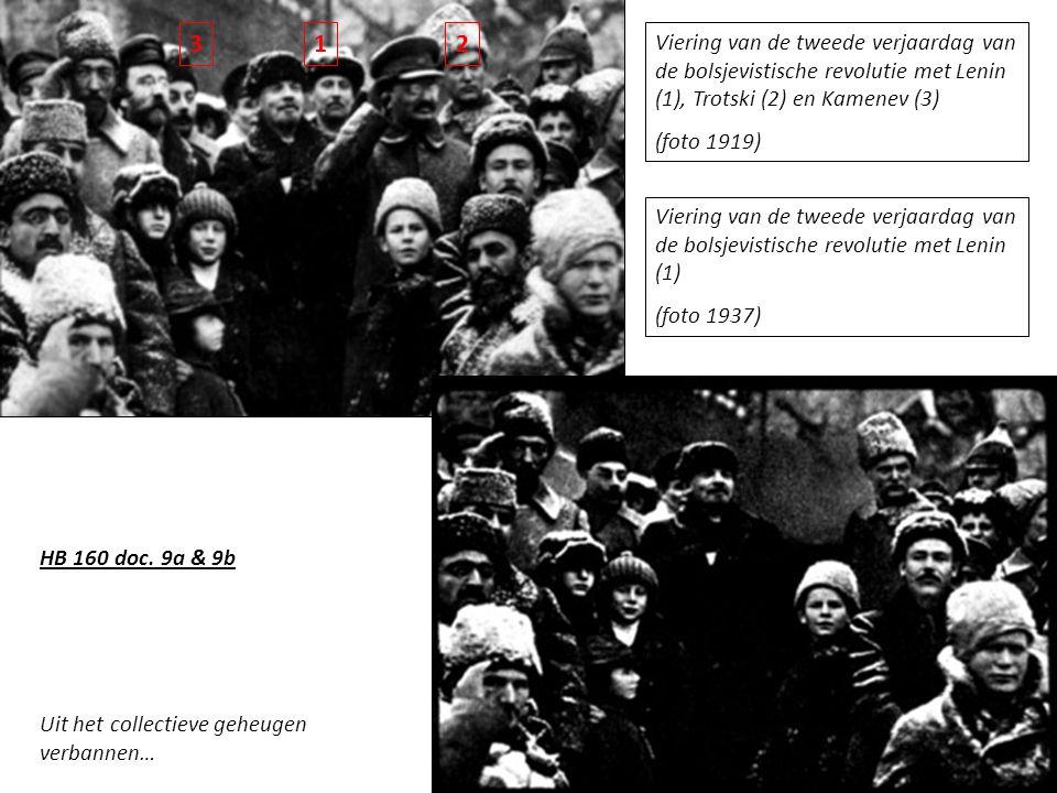 3 1. 2. Viering van de tweede verjaardag van de bolsjevistische revolutie met Lenin (1), Trotski (2) en Kamenev (3)