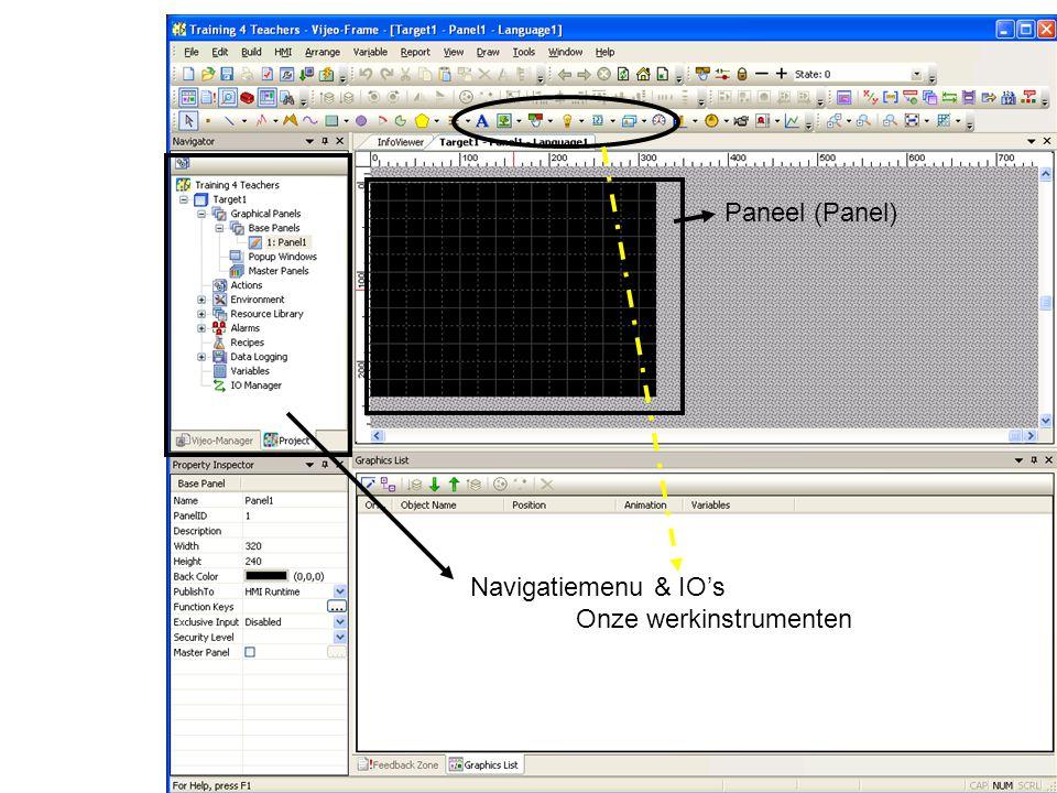 Paneel (Panel) Navigatiemenu & IO's Onze werkinstrumenten