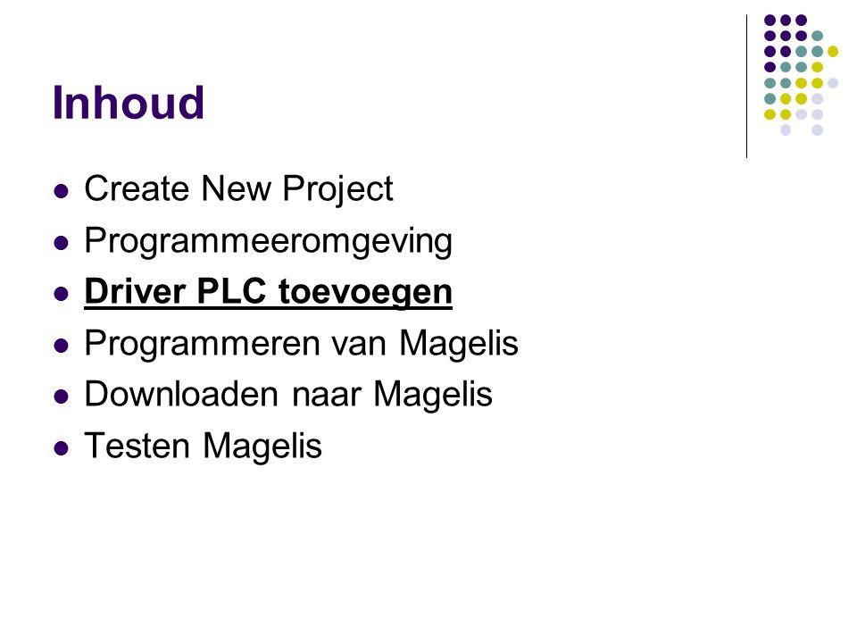 Inhoud Create New Project Programmeeromgeving Driver PLC toevoegen