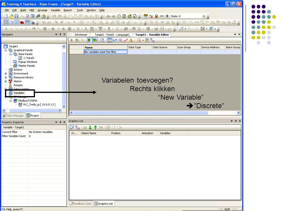 Variabelen toevoegen Rechts klikken New Variable  Discrete
