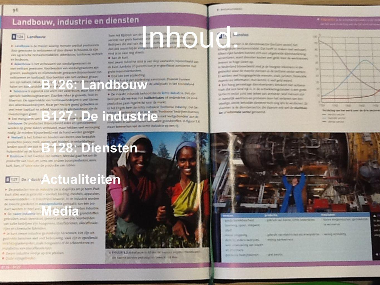 Inhoud: B126: Landbouw B127: De industrie B128: Diensten Actualiteiten