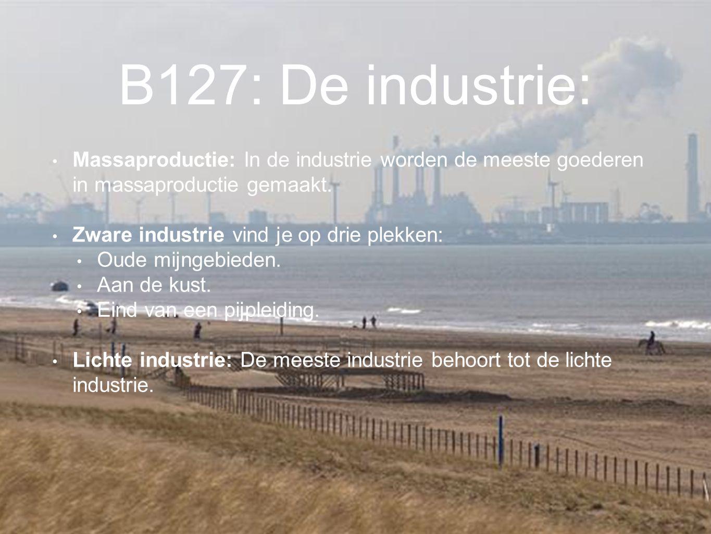B127: De industrie: Massaproductie: In de industrie worden de meeste goederen in massaproductie gemaakt.