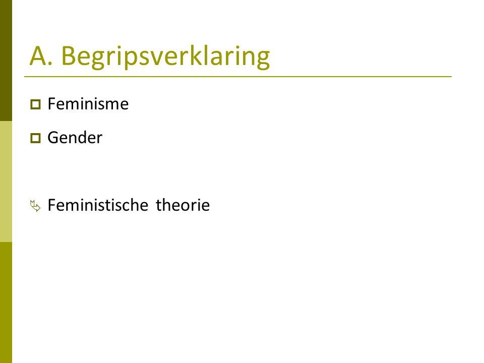 A. Begripsverklaring Feminisme Gender Feministische theorie
