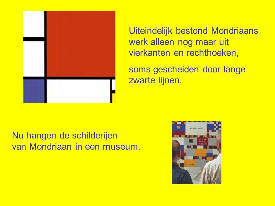 Uiteindelijk bestond Mondriaans werk alleen nog maar uit vierkanten en rechthoeken,