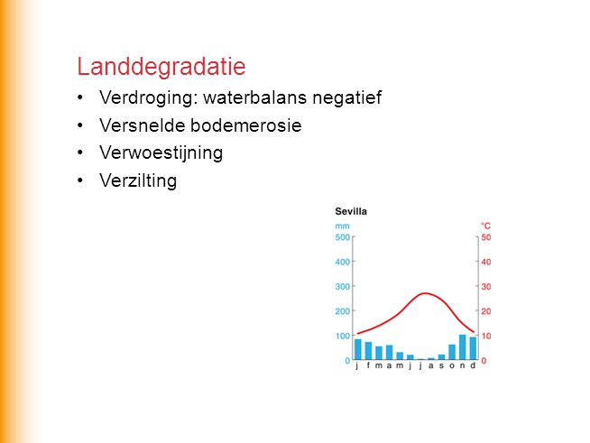 Landdegradatie Verdroging: waterbalans negatief Versnelde bodemerosie