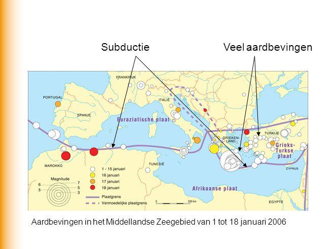 Subductie Veel aardbevingen