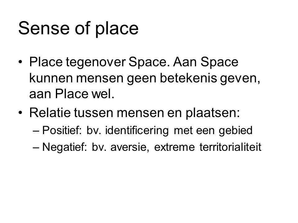 Sense of place Place tegenover Space. Aan Space kunnen mensen geen betekenis geven, aan Place wel. Relatie tussen mensen en plaatsen: