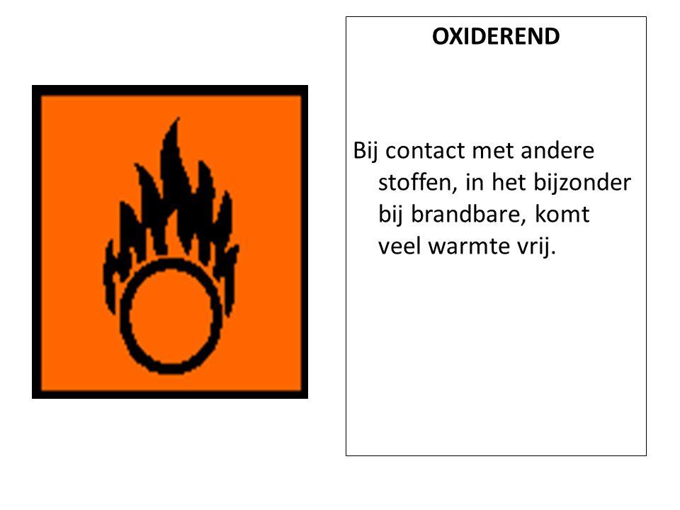 OXIDEREND Bij contact met andere stoffen, in het bijzonder bij brandbare, komt veel warmte vrij.