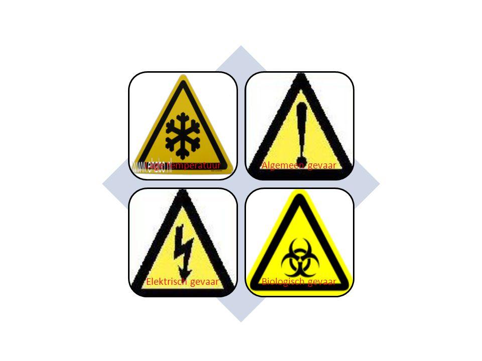 Lage temperatuur Algemeen gevaar Elektrisch gevaar Biologisch gevaar