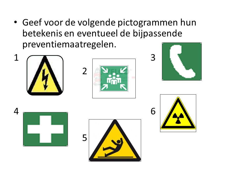 Geef voor de volgende pictogrammen hun betekenis en eventueel de bijpassende preventiemaatregelen.