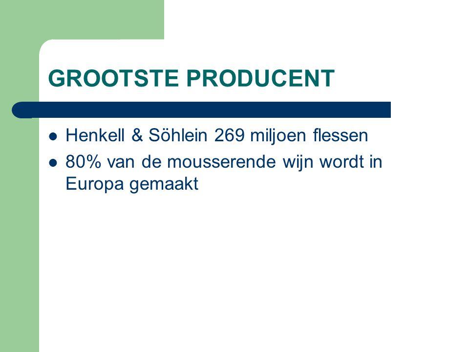 GROOTSTE PRODUCENT Henkell & Söhlein 269 miljoen flessen