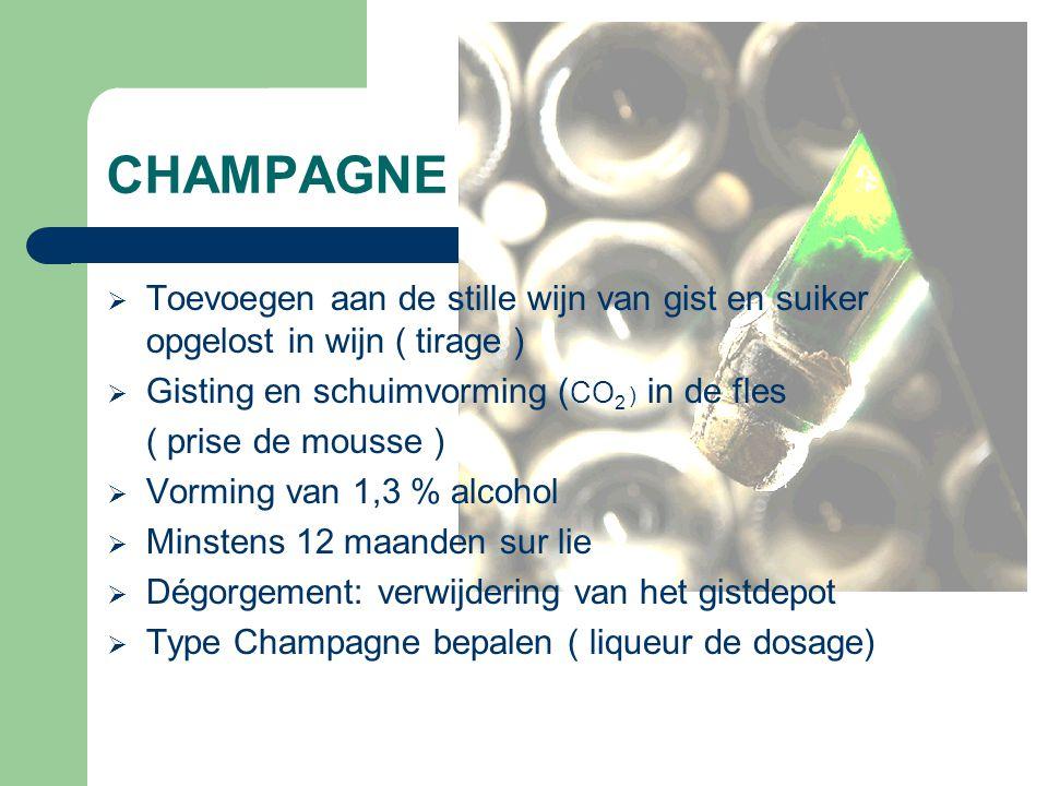 CHAMPAGNE Toevoegen aan de stille wijn van gist en suiker opgelost in wijn ( tirage ) Gisting en schuimvorming (CO2 ) in de fles.