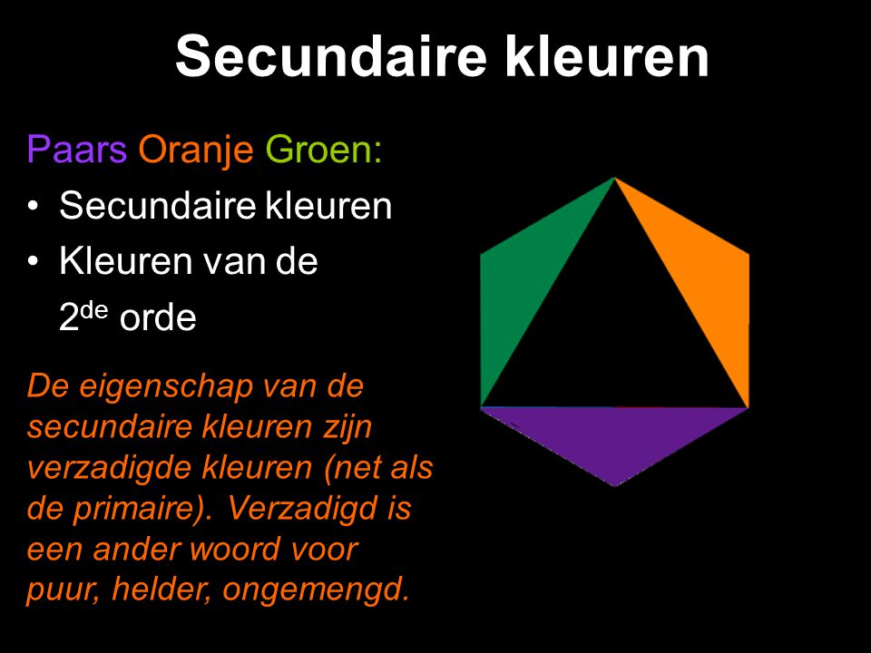 Secundaire kleuren Paars Oranje Groen: Secundaire kleuren
