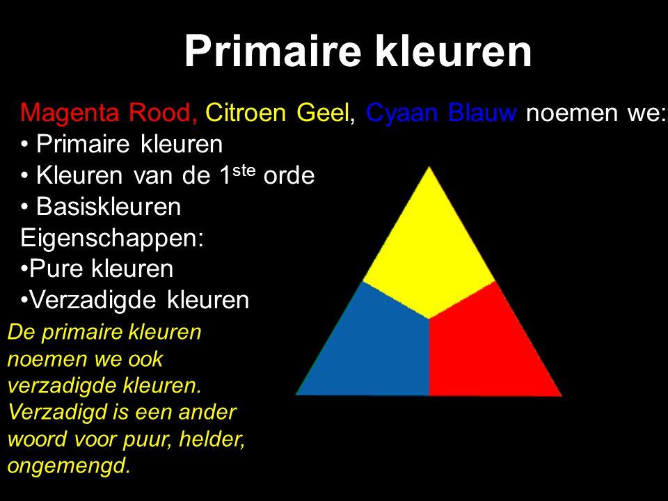Primaire kleuren Magenta Rood, Citroen Geel, Cyaan Blauw noemen we: