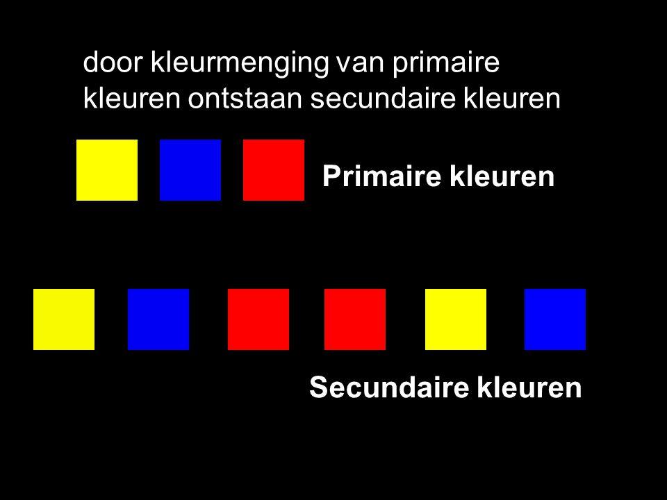 door kleurmenging van primaire kleuren ontstaan secundaire kleuren