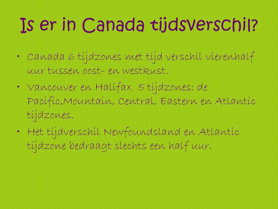 Is er in Canada tijdsverschil