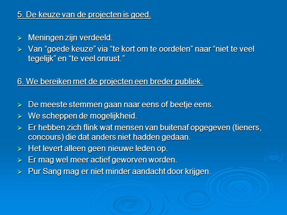 5. De keuze van de projecten is goed.