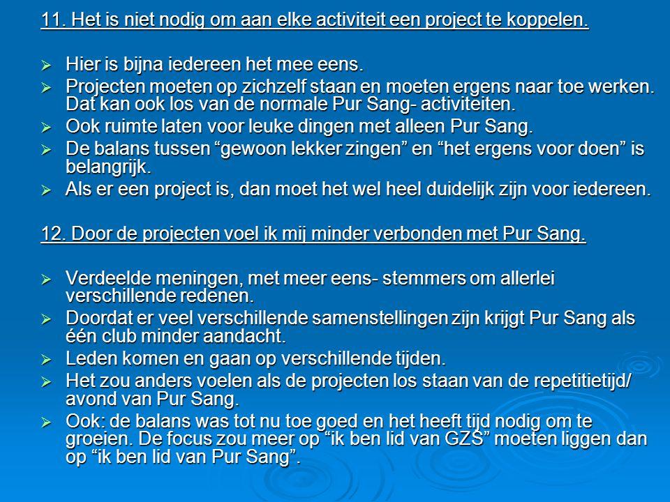 11. Het is niet nodig om aan elke activiteit een project te koppelen.