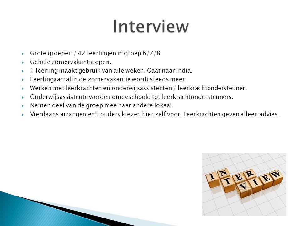 Interview Grote groepen / 42 leerlingen in groep 6/7/8