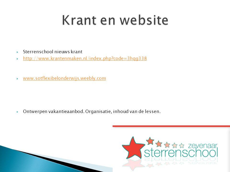 Krant en website Sterrenschool nieuws krant