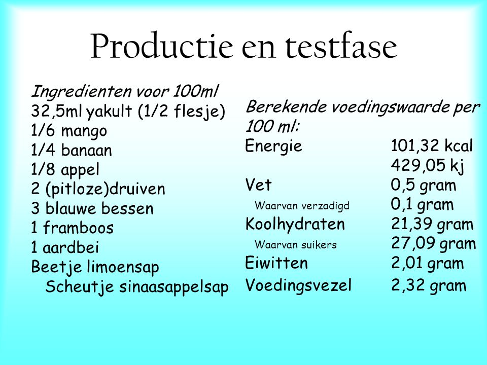 Productie en testfase Ingredienten voor 100ml