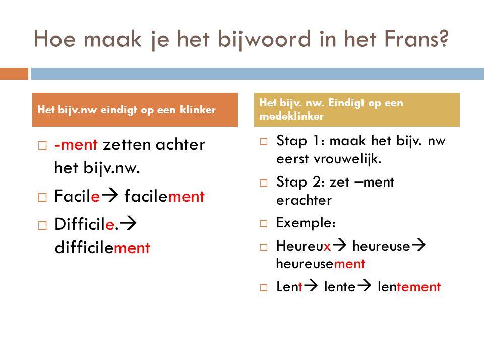 Hoe maak je het bijwoord in het Frans